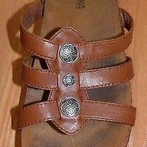 Women's 7 Minnetonka Moccasins Taylor Nut Brown Leather Strappy Slide Sandals Photo