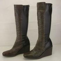 Women's 8 M Donald J Pliner Itz Knee High Wedge Boots Brown Ostrich Skin Stretch Photo
