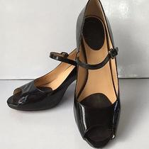 Women's 9 B Cole Haan Nike Air Black Patent Leather Peep Toe W/strap High Heels  Photo