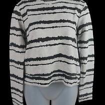 Women's a.l.c. Grey Black Striped Round Neck Long Sleeve Cotton Sweater Size Xs Photo