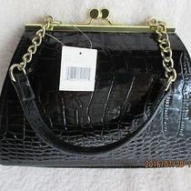 Women's Accessories Handbags & Purses Liz Claiborne Moc Croc Black New With Tag Photo