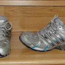 Women's Adidas Bounce Running Shoe Gray With Blue Metallic Stripes Size 8 Photo