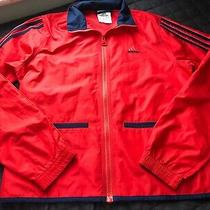 Womens Adidas Windbreaker Jacket Size Xs Red and Navy Blue X Small Full Zip Up Photo