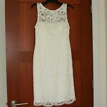 Women's Adrianna Papell Sleeveless White Lace Sheath Dress Size 10  Photo