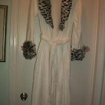 Women's Adrienne Landau Plush Robe W Faux Fur Collar & Cuffs New  Photo
