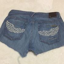 Women's Ae Armani Exchange Jeans Shorts Angel Wings Pockets Size 10r Photo