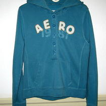 Women's Aero Aqua v-Neck Button Hooded Sweatshirt Size L/xl Photo