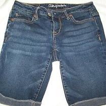 Womens Aeropostale Dark Wash Denim Bermuda Shorts - Size 2 Cuffed Photo