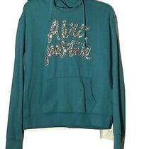 Women's Aeropostale Long Sleeve Pull Over Hoodie Sweatshirt Large Teal Photo