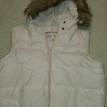 Women's Aeropostale White Puffer Vest With Hood Faux Fur Size L Photo