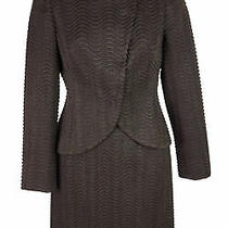 Women's Akris Brown Textured Wool Blazer Jacket Skirt Suit Size 36-38 Fr 4-6 Us Photo