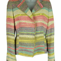 Women's Akris Multi Color Linen Blend Blazer Jacket Size 38 Fr 6 Us Photo