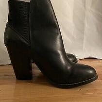 Womens Aldo Black Leather Heeled Boots Bootie Heels Size 8 38.5 Photo