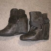 Womens Aldo Brown Wedge Ankle Boots Size 8 38.5 Photo