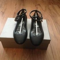 Women's Alexander Mcqueen Black Leather Ankle Strap Flats Size 8.5 Photo