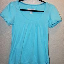 Women's American Eagle Aqua Bubble Sleeve Top / Size Small Photo