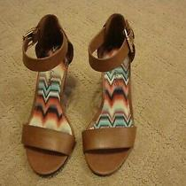 Women's American Eagle Brown Ankle Strap Open Toe Wedge Heel Shoes Size 6 Photo