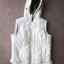 Womens American Eagle White Fur Hooded Puffer Vest Medium Photo
