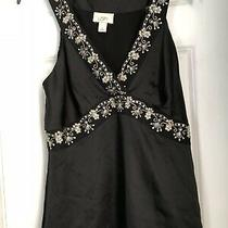 Womens Ann Taylor Beautiful Black W/sequin Design Cami  Tank Top Size 8 Nwot Photo
