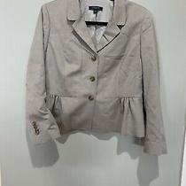 Women's Ann Taylor Beige 3 Button Blazer With Ruffle at Waist - Size 10 Photo