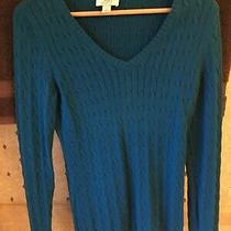Women's Ann Taylor Loft Cable Knit Sweater Size Xs v Neck Long Sleeve Turquoise Photo