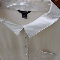 Women's Ann Taylor Nwt Blouse Top Button Collar Ivory Beige Shine Cotton Photo