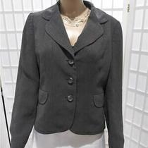 Women's Ann Taylor Sz 8 Smokey Grey Pinstripe Button Business Blazer Photo