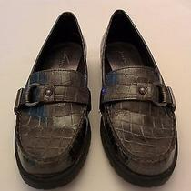Women's Anne Klein 2 Lange Charcoal Patent Leather Flats Loafer Shoes Size 6.5 Photo