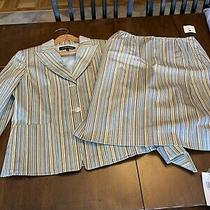 Womens Anne Klein 2 Piece Suit Jacket/skirt Size 8 Blue/tan Striped Nwt Photo