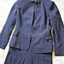 Womens Anne Klein 2pc Designer Career Business Pant Suit Size 2 Navy Blue  Photo