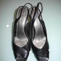 Women's Anne Klein Ak Open Toe Sling Back Heel Black Aknida Leather Upper 10 M  Photo