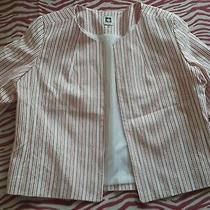 Women's Anne Klein Pink/white Strips Blazer Size 14 Photo
