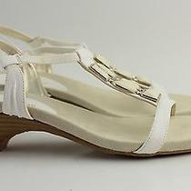Women's Anne Klein White Leather Slingback Sandals Size 8 Photo