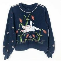 Women's Anthropologie Navy Blue Swan Lake Embroidered Sweatshirt Sz Small Nwt Photo