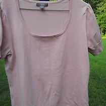 Women's Apt 9 Short Sleeve Scoop Neck Sweater Blush Color Size L Rayon/nylon Photo