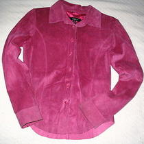 Women's Arden B. Hot Pink Suede Button Up Shirt - Size Xs Photo