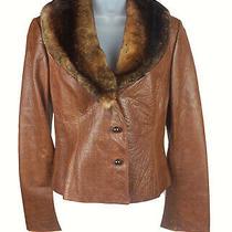 Women's Armani Collezioni Brown Stamped Leather Fur Trim Jacket Size 8 Photo