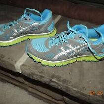 Women's Asics Gel Running Shoes Lime Aqua Gray Sz 7 Excellent Photo