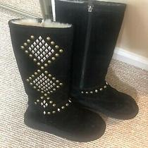 Women's Auth. Ugg Australia Boots S/n 3330 Suede Studded Tall - Black - Size 7 Photo