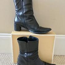 Women's Authentic Coach Mid Calf Black Teresa Boots Leather Italy Size 7.5 B Euc Photo