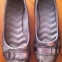 Women's Avon Gray/silver Faux Snakeskin Flats-Size 9-Comfort Walk Photo