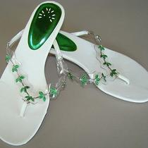 Womens Avon Slides White & Green Size 8 Dainty Cats Eye Slides W/ Flowers      Photo