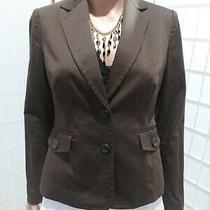 Women's Axcess Liz Claiborne Sz 4 Stretch Coco Brown Cotton Blend Career Blazer Photo
