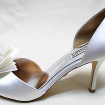 Women's Badgley Mischka Authentic Thora Silk Ruffle Wedding Shoes Size 7.5  Photo