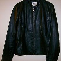 Women's Bagatelle Large Vintage Genuine  Leather Jacket Black Front Zip Short Photo