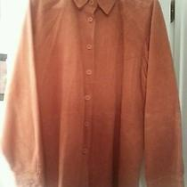 Women's Bagatelle Orange Button Down 100% Genuine Suede Shirt/ Jacket Size Xl Photo