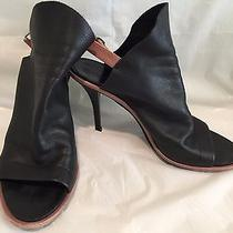 Women's Balenciaga Black Glove Leather Wedge Shoes 38  Photo