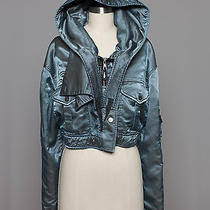 Women's Balenciaga Blue Gray Bomber Jacket W/hood / Size 38 Photo