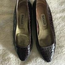 Women's Bally Italy Brown Embossed Patented Leather Comfy Shoes Size 6.5 Photo
