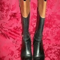 Women's Bandolino Baya Wide Calf Riding Boots Black/brown Leather Size 9 Medium Photo